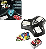 UNO Triple Play Family Card Game with Card-Holder Unit with 3 Modes, Lights & Sounds & 112 Cards for K