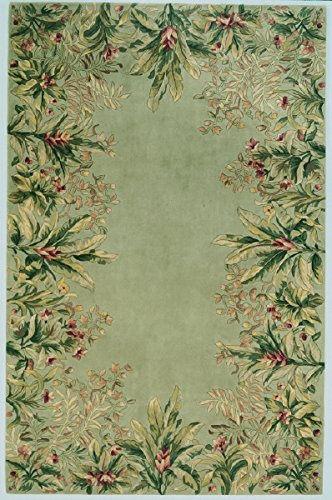 Wool Tropical Floral Area Rug - Kas Rugs KAS Oriental Rugs Emerald Collection Tropical Border Area Rug, 5'3