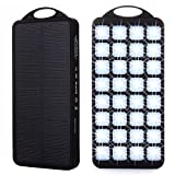 Solar Power Bank Charger, Genuine 8000mAh External Backup Battery Pack, 2 USB Ports, 32 LED Lights, Large Solar Panel Phone Charger Powerbank for iPhone, iPad, Samsung, Android and other Smart Devices