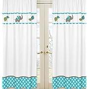 Sweet Jojo Designs 2-Piece Mod Elephant Girl or Boy Bedroom Decor Window Treatment Panels