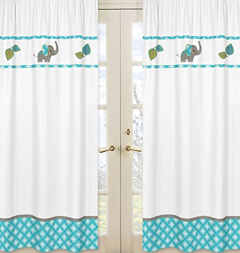 Sweet Jojo Designs 2-Piece Mod Elephant Girl or Boy Bedroom Decor Window Treatment Panels (Designs Sweet Jojo Elephant)