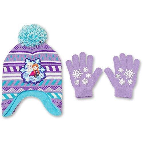 2 Gloves Disney Piece (Disney Frozen 2 Piece Beanie Set Knit Hat and Gloves Girls' One Size)