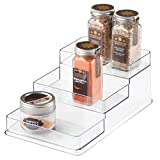 InterDesign Linus Spice Rack, Organizer for Kitchen Pantry, Cabinet, Countertops - Medium, 3-Tier, Clear