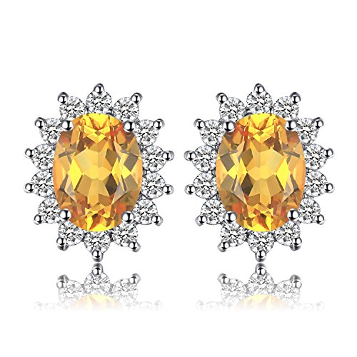 (Jewelrypalace Gemstones Birthstone 1.1ct Natural Citrine Stud Earrings For Women 925 Sterling Silver Earrings For Girls Princess Diana William Kate Halo Earrings)