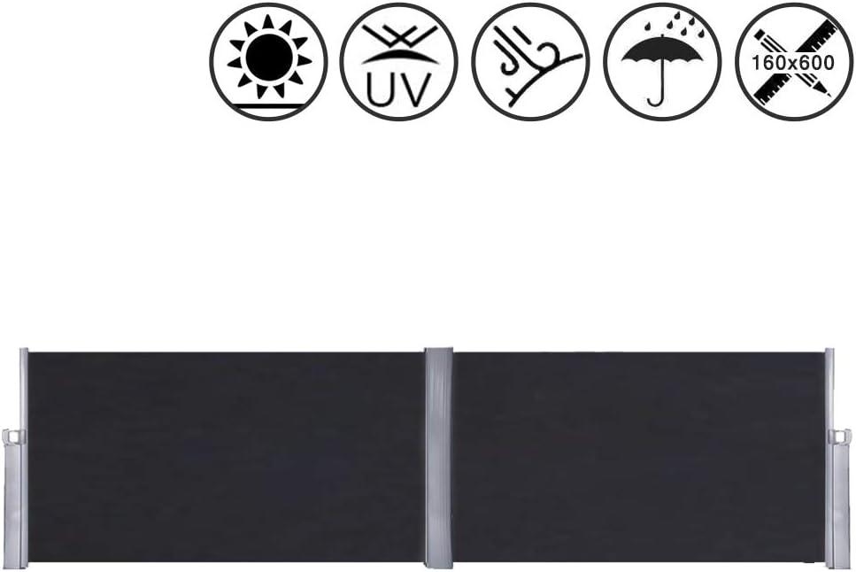 LARS360 Tenda Laterale Tenda da Sole Laterale Protezione Privacy Poliestere e Alluminio Parasole 180 x 600 cm, Nero Supporto in Metallo per Balcone e Terrazzo