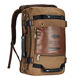 """KAUKKO Outdoor Travel Men Backpack, Hiking Camping Canvas Rucksack 20 HIGH QUALITY & DURABLE MATERIAL. HIGH QUALITY NYLON LINING makes the backpack soft and comfortable. The rucksack backpack is more high-end with the durable and eco-friendly canvavs. LARGE CAPACITY & STUFF ARRANGED TIDILY. The dimension of the travel laptop backpack is 17.7""""H x 6.7""""W x 11.8""""L. Laptop compartment fits up to 15"""" Laptop, The Surface/ Laptop/ Charging treasure/Phone/Pen/Notebook/Wallet/Umbrella/Books/Folders can all be taken in. MULTI-PURPOSE USE & COMFORT: Two durable strap in the hidden compartment makes the bag used as a backpack/rucksack/satchel. A detachable shoulder strap can easily turn the backpack into a messenger bag/crossbody bag/shoulder bag. One bag offers at least three different ways of carrying.The straps and back side with protective padded design are easy and comfortable to carry throughout all day."""