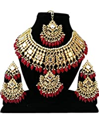Fkraft Meena Kundan Gold Plated Latest Pearls Designer Wedding Necklace Jewelry Set for Women