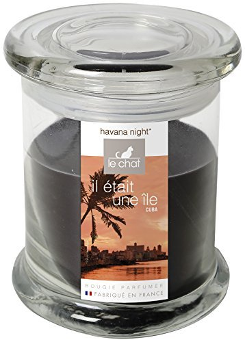 The cat 01190124 Cuba Jar with Lid Wax Filled Glass Scented Havana Tobacco/Black-Night Black by LE CHAT
