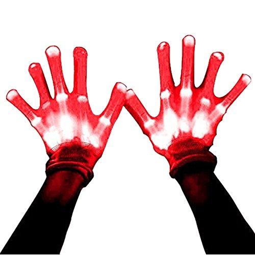 Halloween Costumes Led Lights (Led Dancing Skeleton Gloves, Hand Flashing Light Shows Halloween Costume, Novelty Christmas Gift (Red))