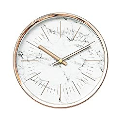 Arospa Modern Design Scandinavian 6 Silent Non-Ticking Sweep Movement Desktop Clock, Table Clock, Wall Clock with Rose Gold Frame (White Marble)