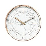 Arospa Modern Design Scandinavian 6'' Silent Non-Ticking Sweep Movement Desktop Clock, Table Clock, Wall Clock with Rose Gold Frame (White Marble)