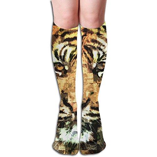 YangAme Abstract Tiger Portrait 50 Full Comfort Knee High Socks Cotton Long Knee High ()