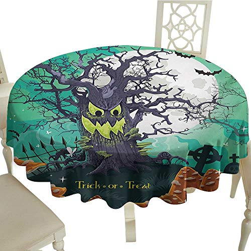 Rectangle Round Tablecloth 70 Inch Halloween,Trick or Treat Dead Forest with Spooky Tree Graves Big Kids Cartoon Art Print,Multicolor Great for,Holiday & More ()