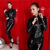 Sexy Vinyl PVC Leather Zip Clubwear Catsuit Fancy Dress Zipper Front Adult Costume - XL