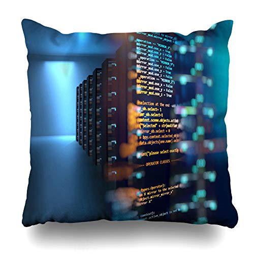 Ahawoso Throw Pillow Cover Infrastructure Hosting Server Room Node Base Programming Data Big Storage Cloud Computing Technology Home Decor Pillowcase Square Size 20