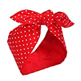 #2: Sea Team Cotton Headband Bows Red with White Polka Dots Double Wide Headwrap Cotton Head Band