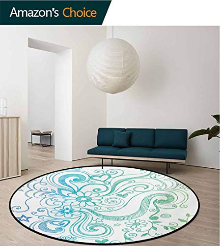 Flowers Modern Machine Washable Round Bath Mat,Rainbow Colored Ombre Sketch Design with Florals Blossom Ivy Leaves Non-Slip Living Room Soft Floor Mat,Round-35 Inch Blue White Turquoise Green