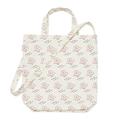 - Line Friends Cross Tote Bag - SALLY Character Pattern Printed Eco Friendly Cotton Shoulder Bag, Ivory