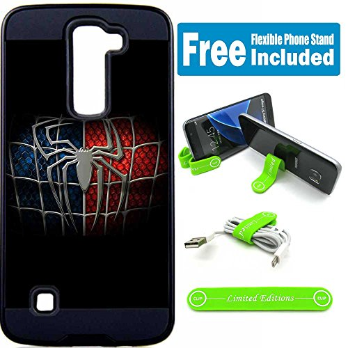 LG Stylo 2 Plus (MS550) Hybrid Armor Defender Case Cover with Flexible Phone Stand - Spiderman Logo Black