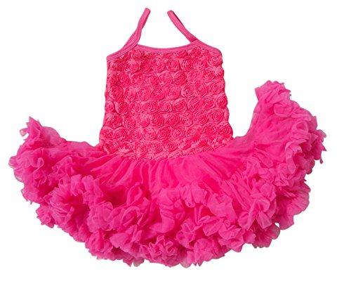 - V Flourish Rosette Petti Toddler Sundress Tutu (xlarge (3-4 yrs), Hot Pink combo)