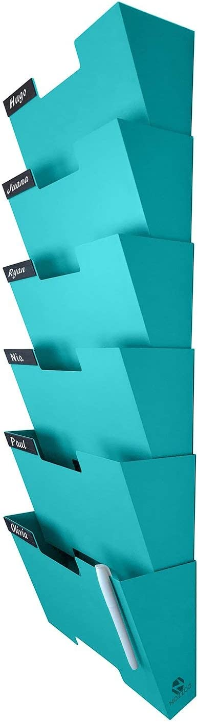 Tiffany Blue Wall Mount Hanging File Holder Organizer 6 Pack | Durable Steel Rack, Solid, Sturdy & Wide | for Letters, Files, Magazines & More | Organize The Desktop, Declutter Your Office - Nozzco
