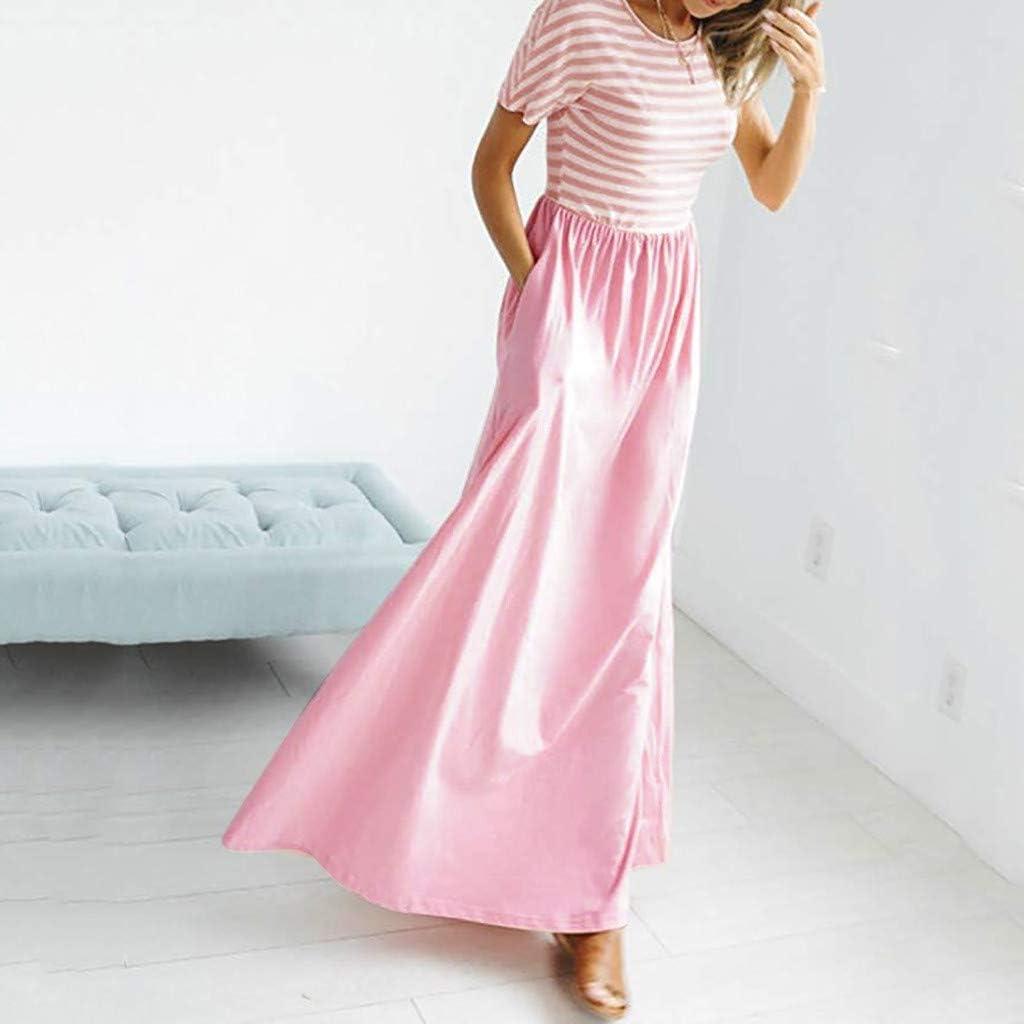 COOKI/_Women Dresses Casual Striped O-Neck Elastic Waist Short Sleeve Swing Long Maxi Tunic Dress with Pockets