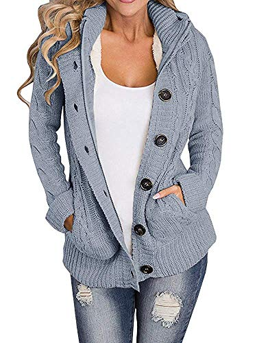 Cashmere Like Cardigan Sweater - Yacooh Lined Hooded Womens Cardigan Sweaters Warm Jacket Fleece Cable Knit Open Front Hooded Button Down Sweater Coat (Small, Grey)