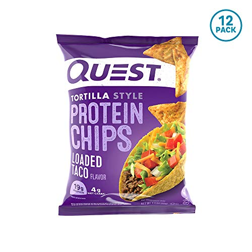 Best Quest Nutrition Tortilla Style Protein Chips, Loaded Taco, Low Carb, Gluten Free, Baked, 1.1 Ounce (Pack of 12)