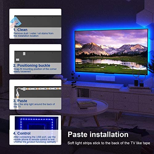 TV Led Backlight, ViLSOM 8.2ft Bluetooth App Control Led Lights for TV PC 32-60inch, Music Sync with Remote USB Led Strip Lights for TV Ambient, Bedroom, Gaming Room and Home Decoration