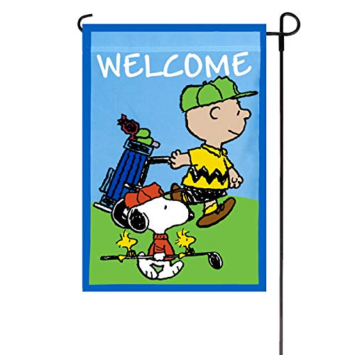 PEANUTS WELCOME WITH GOLF Garden Flag 12