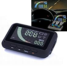 Head up Display Vehicle-mounted HUD OBD Projection Display Car Speed with Gear Shift Reminding / Over Speed Alarm / Water Temperature Alarm / Voltage Alarm
