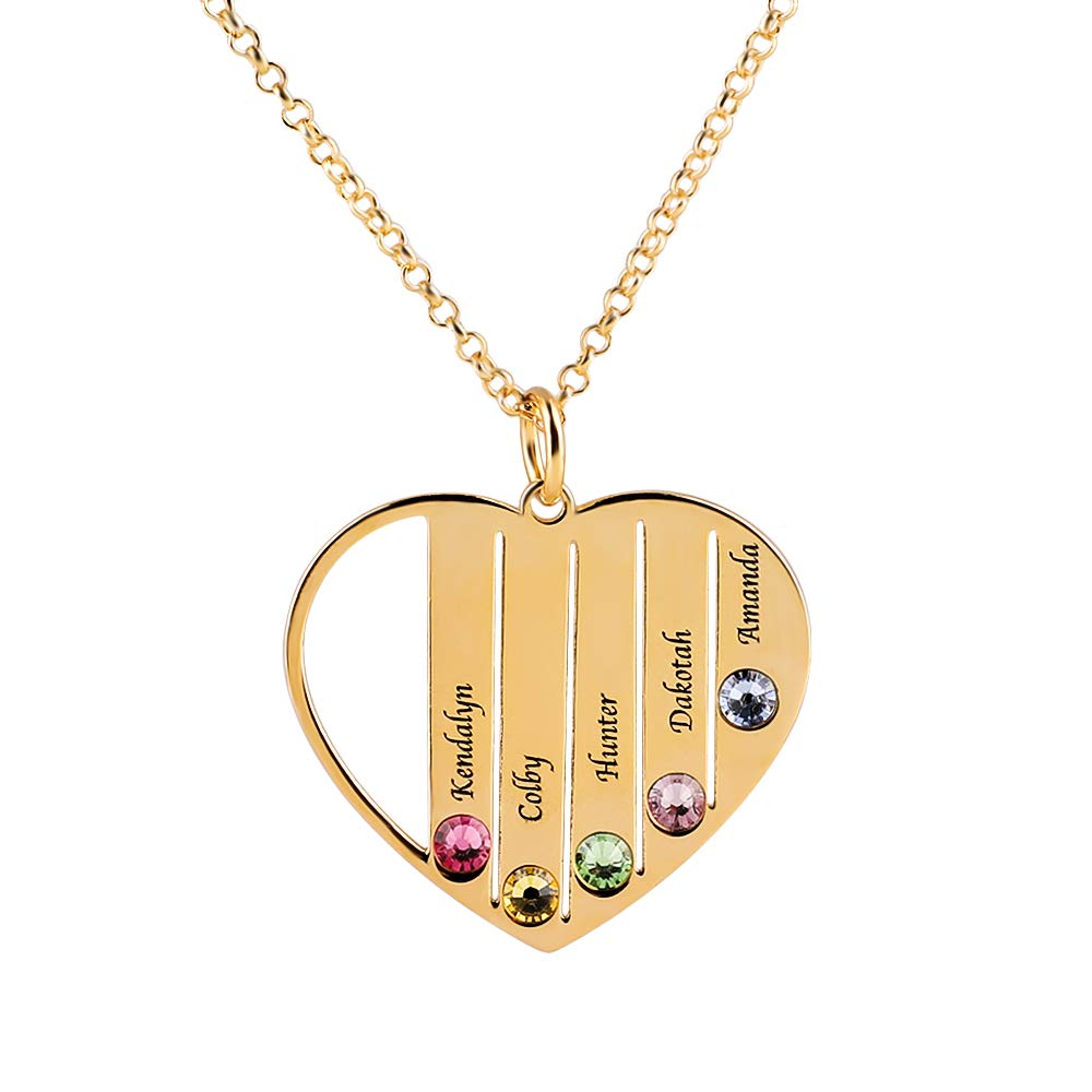 dytinina Personalised Family Name Necklace Heart Pendant with Birthstone Fathers Day Jewelry Gift