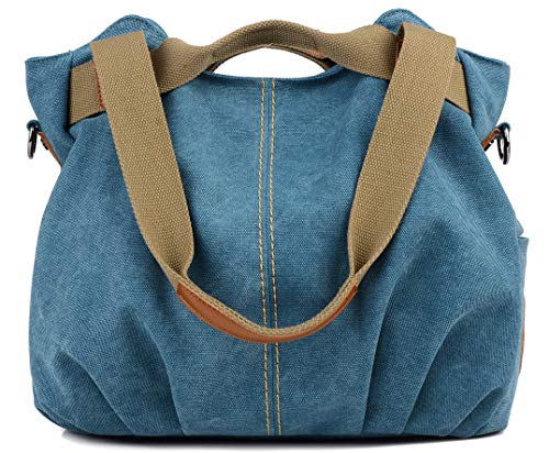 Z-joyee Women's Ladies Casual Vintage Hobo Canvas Daily Purse Top Handle Shoulder Tote Shopper Handbag Satchel Bag Double Handle Shopper Tote