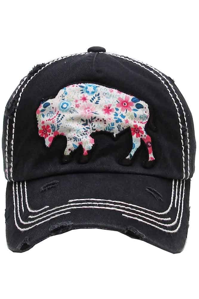 ScarvesMe Kbethos Ladies Vintage Distressed Texas Buffalo Stitch Baseball Cap Hat