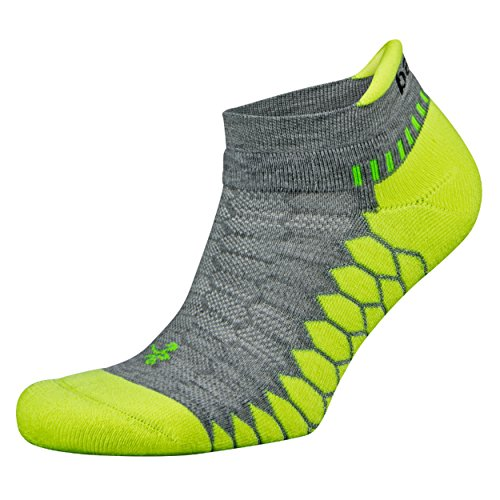 Balega Silver Antimicrobial No-Show Compression-Fit Running Socks for Men and Women (1-Pair), Midgrey/Neon Lime, Large -