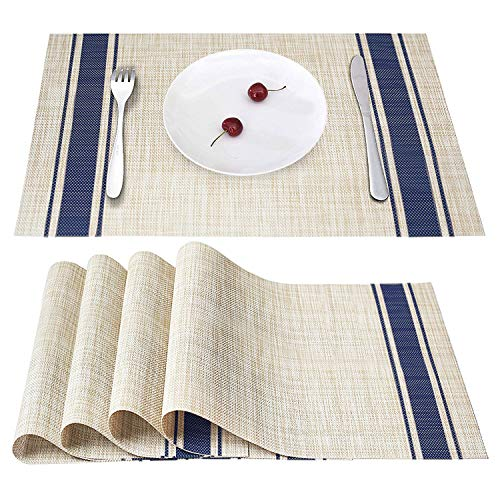 Smeala Placemats Set of 4, Heat Insulation & Stain Resistant Washable Place Mats, 17.7 x 11.8 inches Durable Non-Slip Kitchen Table Mats Placemat for Dining Table (Blue)