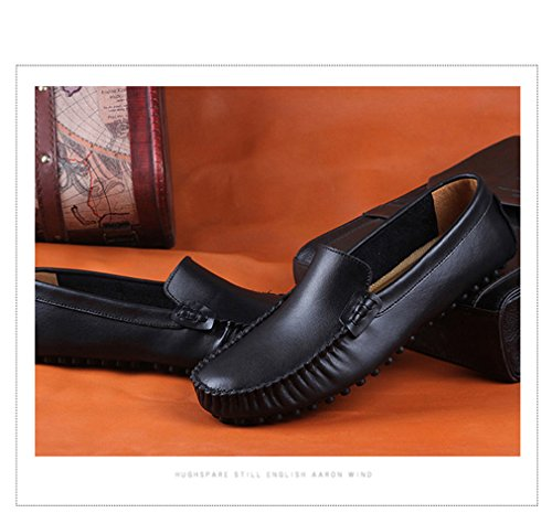 Lumino Hommes Véritable Cuir Appartements Mode Hommes Occasionnels Chaussures Mocassins Mocassins Drivng Chaussures Zapatos Grande Taille 35~47 Black 31GbPy