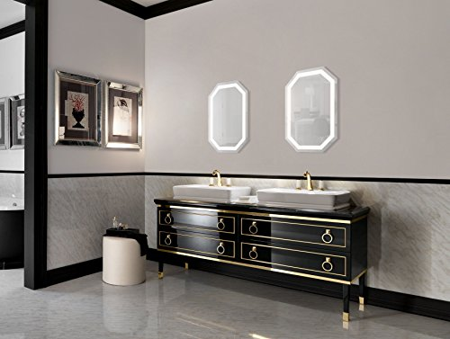 octagon led bathrom mirror 20 inch x 30 inch lighted wall mount vanity mirror includes. Black Bedroom Furniture Sets. Home Design Ideas