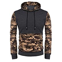Coofandy Men's Pullover Camo Hooded Sweatshirt