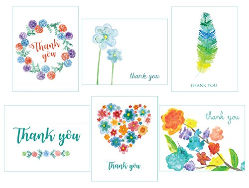 Thank You Cards Watercolor Teal - 36 Note Cards - 6 Designs - Blank Cards - Envelopes Included