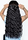 (US) Jet Black Long Corn Wave Curly/Wavy One Piece Clip in Hair Extensions (3/4 Full Head) 5 Clip Ins Hairpiece