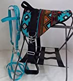 Party Ponies MINIATURE HORSE/SM PONY BAREBACK SADDLE SET TURQUOISE SOUTHWEST