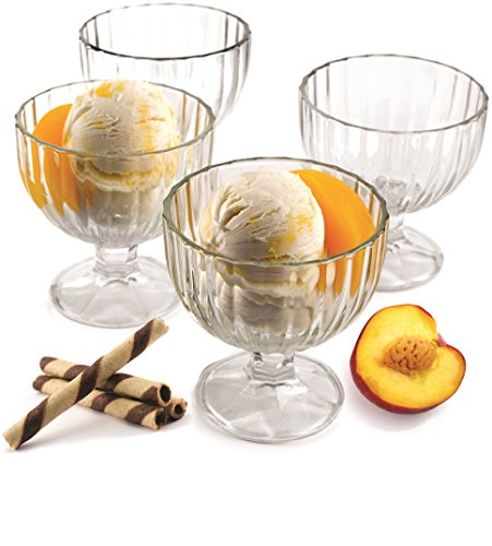 Circleware Passion Footed Glass Ice Cream Dessert Dish Bowl, Set of 4, 9 Ounce Each, Limited Edition Glassware Serveware Milk Glass Dessert