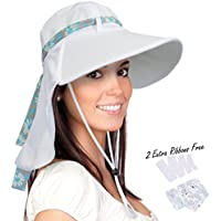 Solaris Women's Sun Hat Neck Flap Wide Brim UV Protection UPF 50+ Foldable Fishing Cap with Extra Replaceable Ribbon