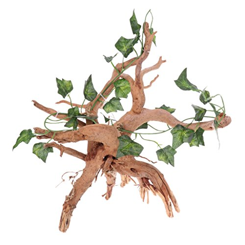 (D DOLITY Reptile Wood Tree Root Climbing Branch Hiding Jungle Vines Aquarium Ornament Landscape Decor with Realistic Vine Leaf for Lizard ,Frogs, Snakes and More Reptiles)