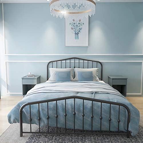 Metal Bed Queen Size Platform Bed Frame Morden Design Heavy Duty Steel Slat and Support, Black 51buiIUMOaL