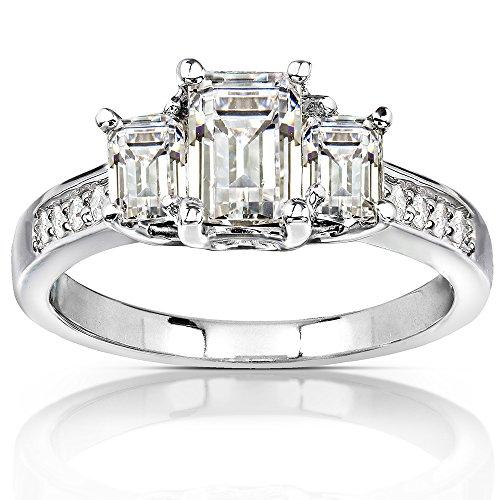 Three-Stone Moissanite Engagement Ring with Diamond Accent 1 3/5 CTW 14k White Gold, Size 6.5, White (3 Stone Pave Diamond)