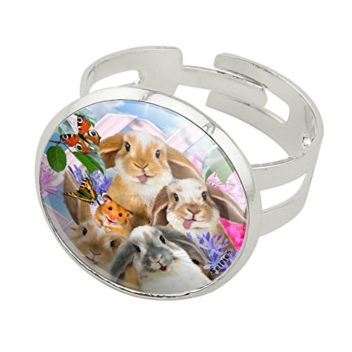Graphics and More Rabbits Bunnies Hampster Backyard Flower Selfie Silver Plated Adjustable Novelty -