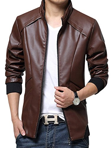 KIWEN Men's Stand Up Collar Faux Leather Jacket Slim Fit(Wine Red,XL (Leather Red Jacket)
