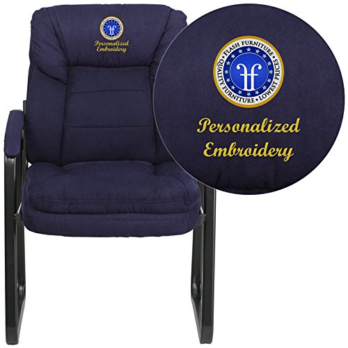 Flash GO-1156-NVY-EMB-GG Emb Navy Microfiber Side Chair Black Metal Sled Base Frame